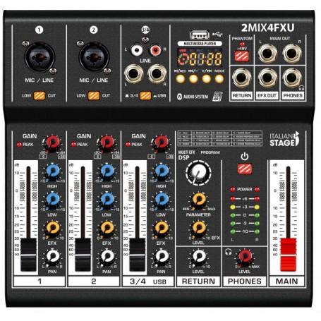 ITALIAN STAGE IS 2MIX4FXU, Mixer Audio Stereo, 4 Canali con DSP Effetti - vaiconlasigla; strumenti musicali; vaiconlasig