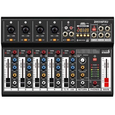 ITALIAN STAGE IS 2MIX6FXU Mixer Audio Stereo, 6 Canali con DSP Effetti - vaiconlasigla; strumenti musicali; vaiconlasigl