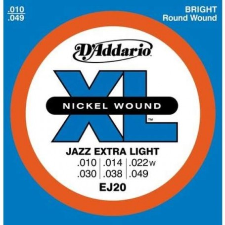 D\'ADDARIO EJ20 JAZZ EXTRA LIGHT 010-049