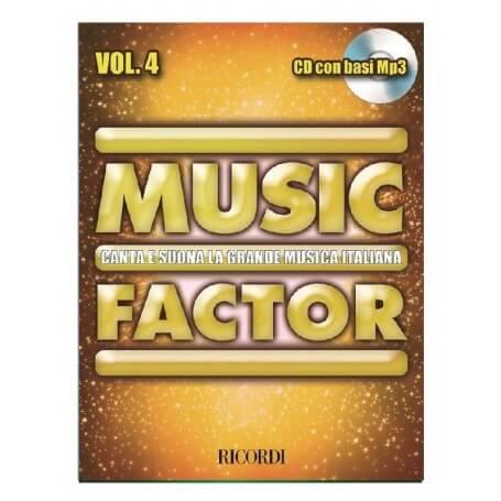 MUSIC FACTOR VOL. 4 CANTA E SUONA LA GRANDE MUSICA ITALIANA CON CD BASI MP3 - vaiconlasigla; strumenti musicali; vaiconl